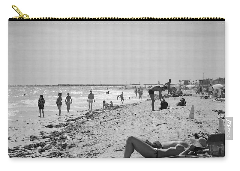 Black And White Carry-all Pouch featuring the photograph Paradise Beach In Black And White by Rob Hans