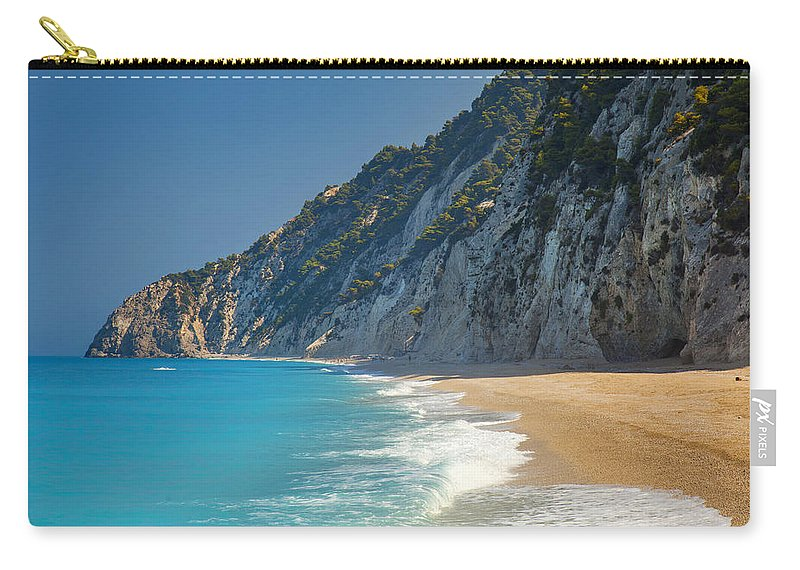 Beach Carry-all Pouch featuring the photograph Paradise Beach With Blue Waters by Sandra Rugina
