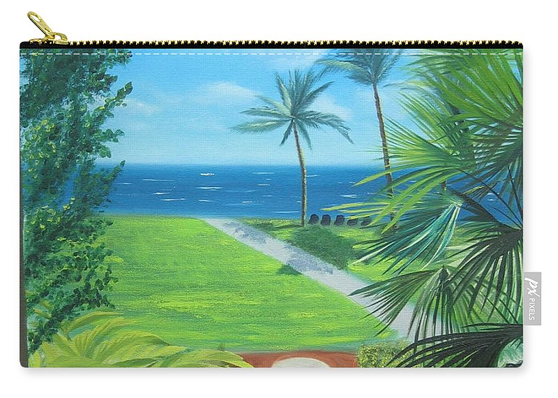 Seascape Carry-all Pouch featuring the painting Paradise Beckons by Lea Novak