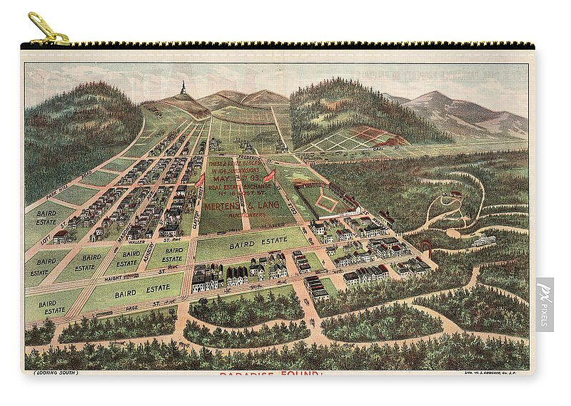 Paradise Found Carry-all Pouch featuring the drawing Paradise Found - Historical Birds Eye View Map Of Baird Estate - Historical Map by Studio Grafiikka