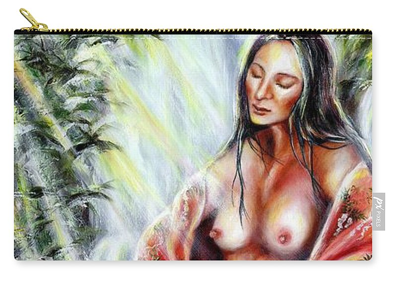 Japanese Woman Carry-all Pouch featuring the painting Paradise by Hiroko Sakai