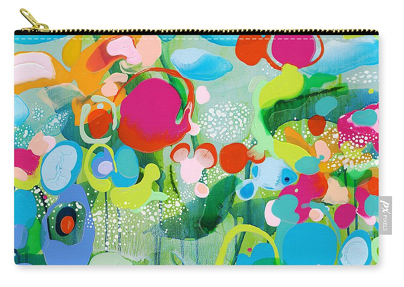 Abstract Carry-all Pouch featuring the painting Paradise Outer Limits by Claire Desjardins