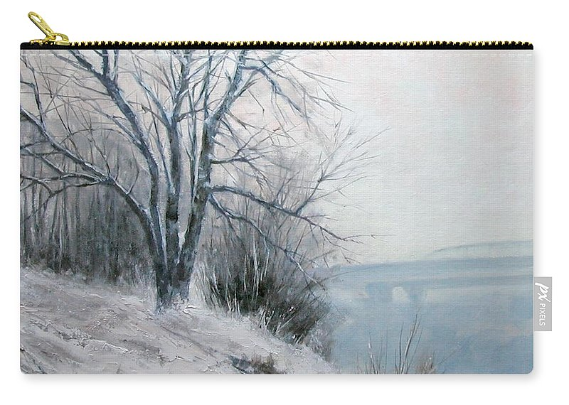 Art Carry-all Pouch featuring the painting Paradise Point Bridge Winter by Jim Gola