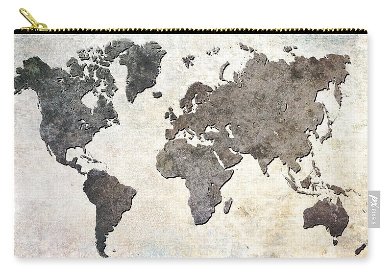 Map Carry-all Pouch featuring the digital art Parchment World Map by Douglas Pittman