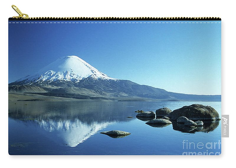 Chile Carry-all Pouch featuring the photograph Parinacota Volcano Reflections Chile by James Brunker