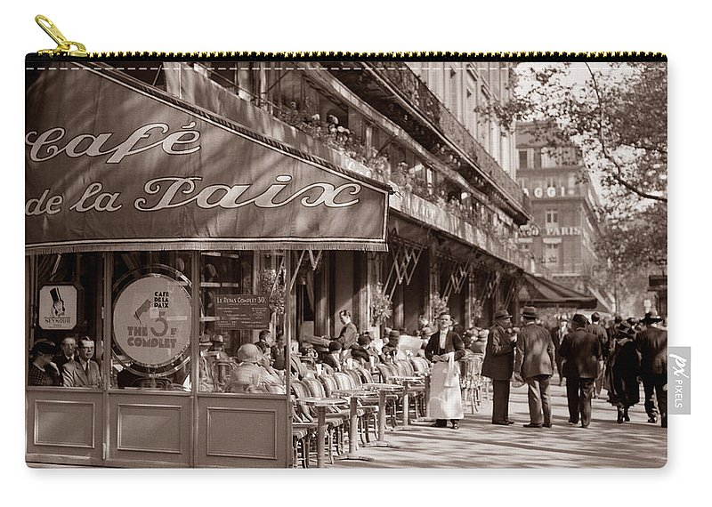 Paris Cafe Carry-all Pouch featuring the photograph Paris Cafe 1935 Sepia by Andrew Fare