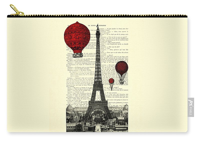 Eiffel Tower Carry-all Pouch featuring the digital art Paris, City Of Love by Madame Memento