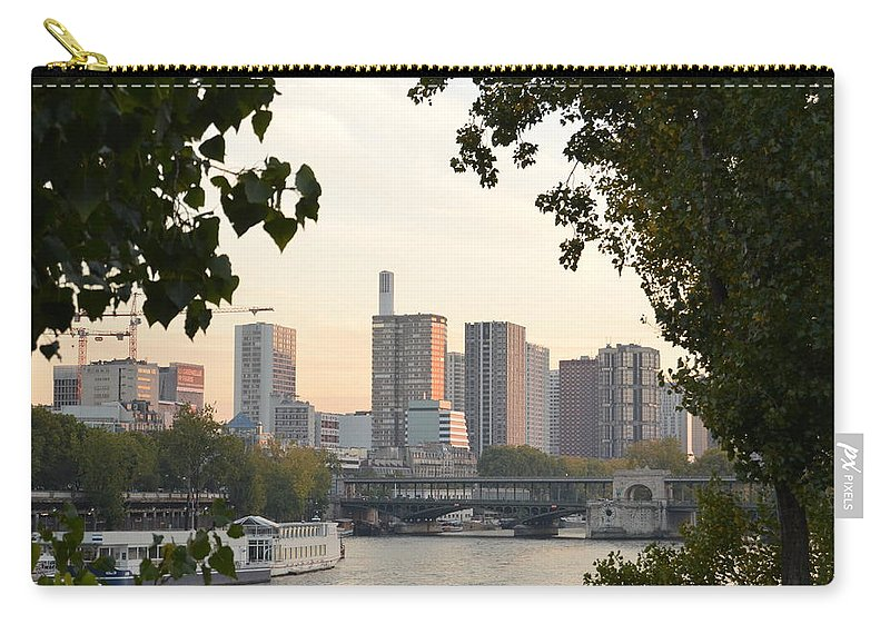 Paris Carry-all Pouch featuring the photograph Paris Cityscape Across The Water by Dawn Crichton