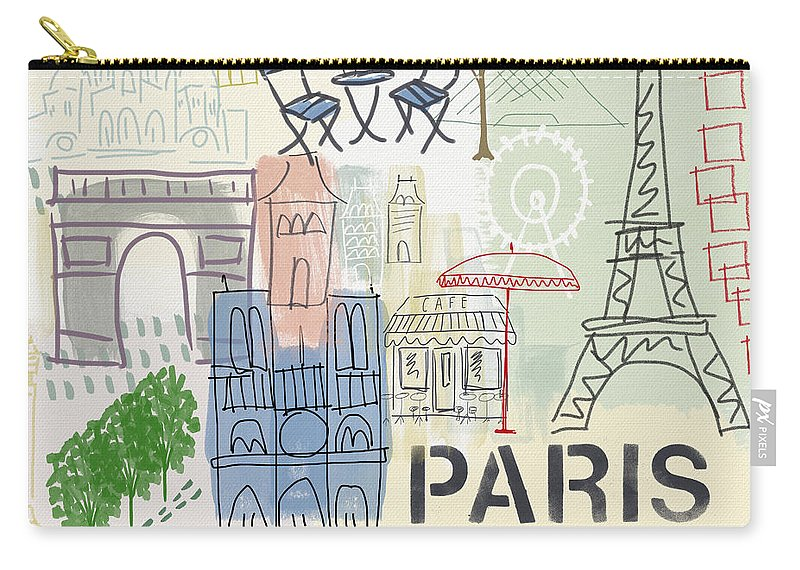 Paris Carry-all Pouch featuring the painting Paris Cityscape- Art by Linda Woods by Linda Woods