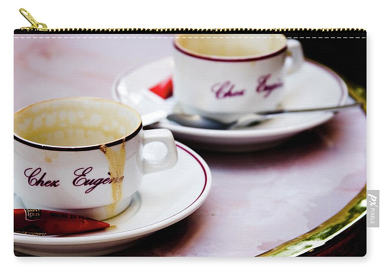 Cafe Carry-all Pouch featuring the photograph Paris Coffee Cups by David Chasey