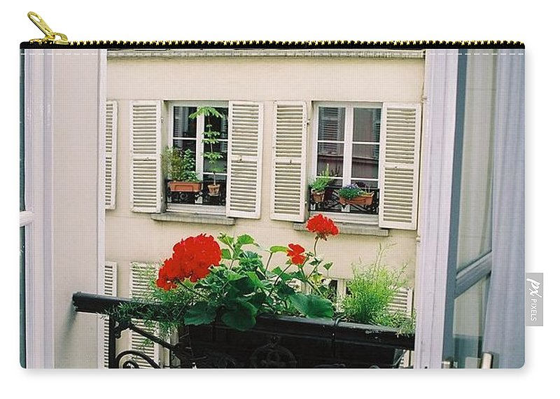 Window Carry-all Pouch featuring the photograph Paris Day Windowbox by Nadine Rippelmeyer