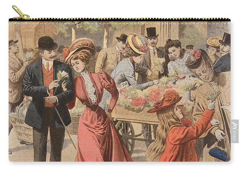 Flower Carry-all Pouch featuring the painting Paris Flower Market by French School