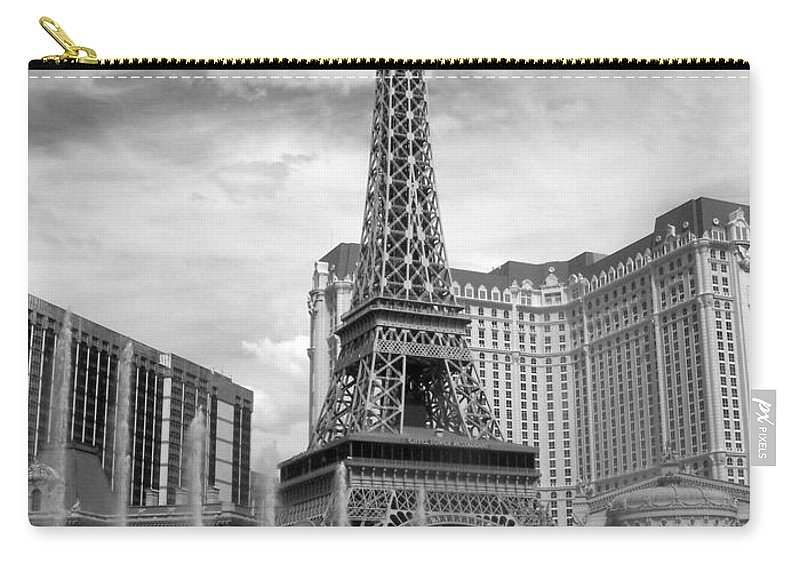 Paris Hotel Carry-all Pouch featuring the photograph Paris Hotel - Las Vegas B-w by Anita Burgermeister