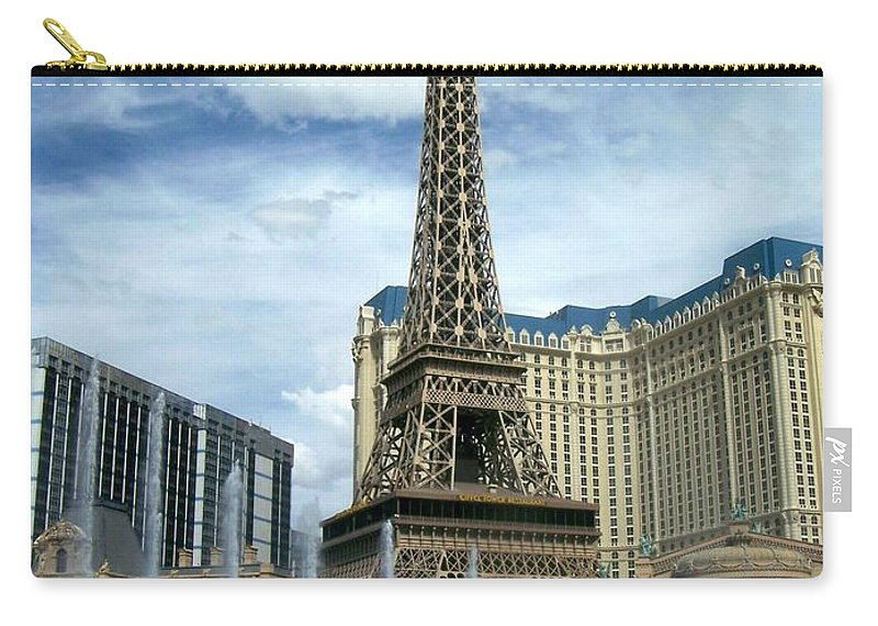 Pars Hotel Carry-all Pouch featuring the photograph Paris Hotel And Bellagio Fountains by Anita Burgermeister