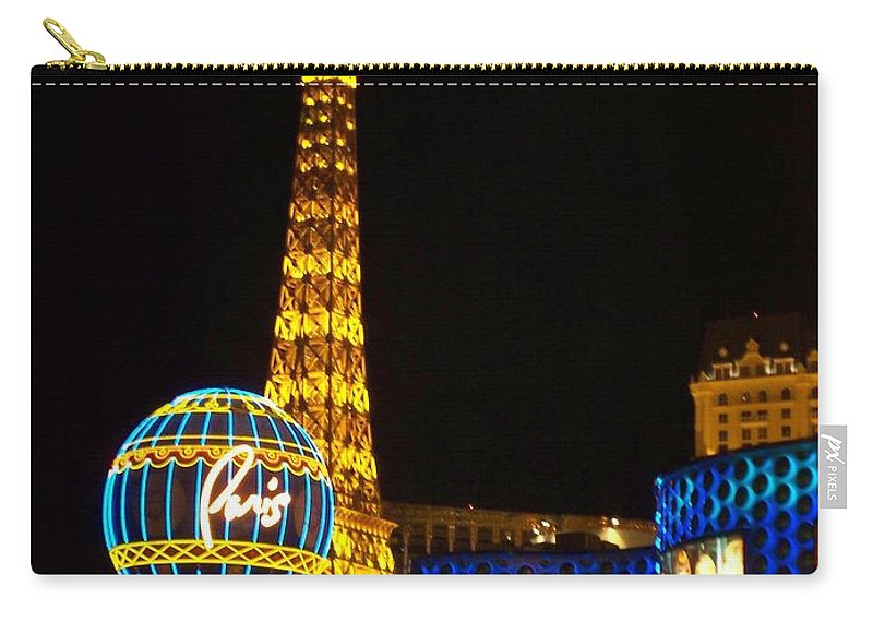 Vegas Carry-all Pouch featuring the photograph Paris Hotel At Night by Anita Burgermeister