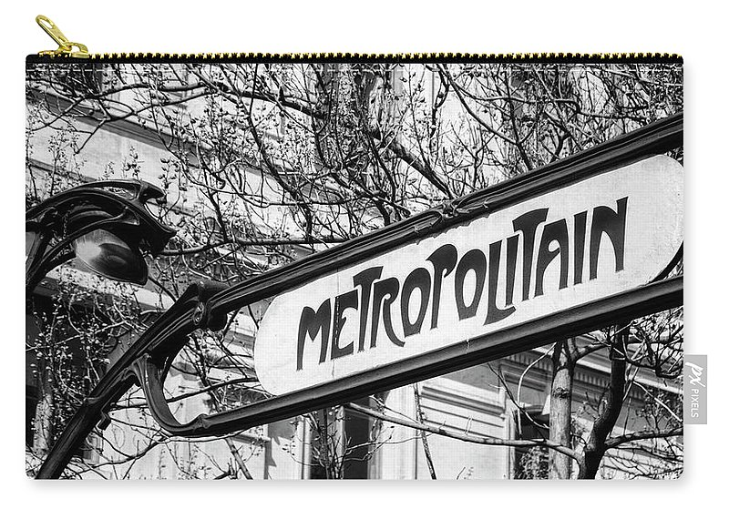 Joan Carroll Carry-all Pouch featuring the photograph Paris Metro Sign Bw by Joan Carroll