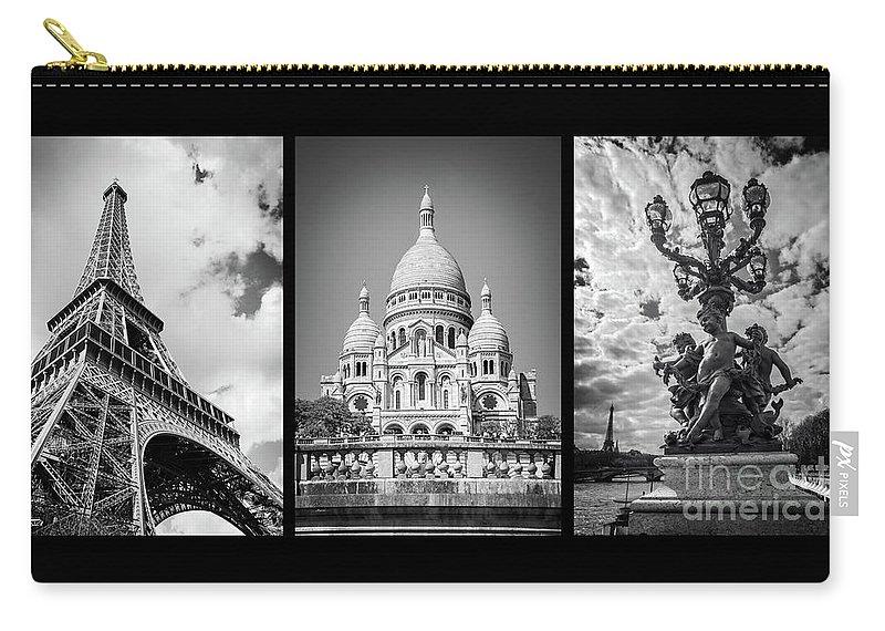 Paris Carry-all Pouch featuring the photograph Paris Triptych by Delphimages Photo Creations