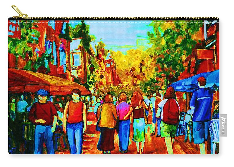 Cafe Scenes Carry-all Pouch featuring the painting Parisian Cafes by Carole Spandau