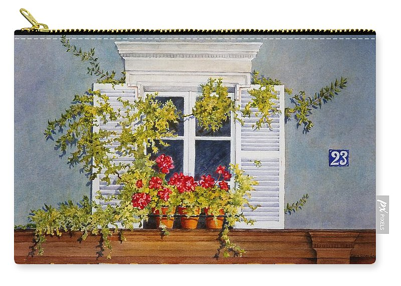 France Carry-all Pouch featuring the painting Parisian Window by Mary Ellen Mueller Legault