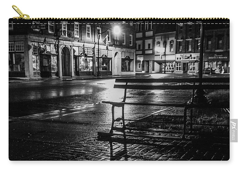Carry-all Pouch featuring the photograph Park bench on a rainy night by Kendall McKernon