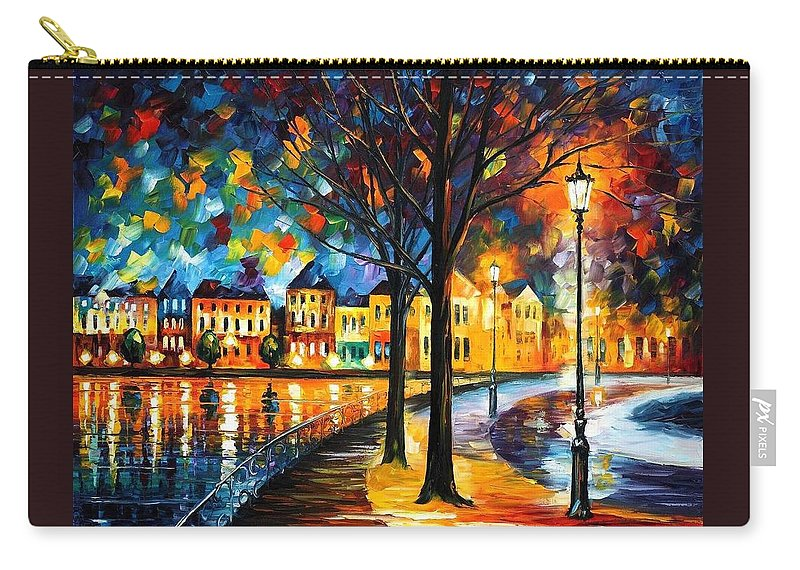 Afremov Carry-all Pouch featuring the painting Park By The River by Leonid Afremov