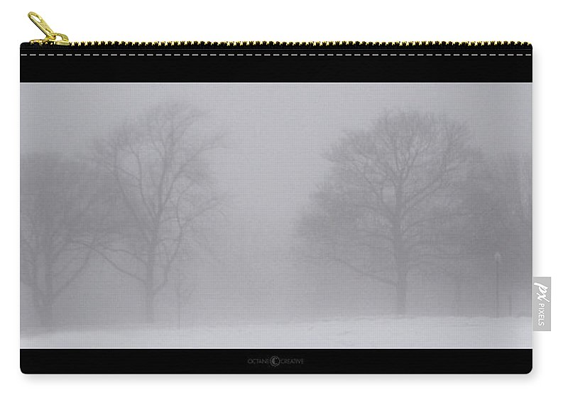 Fog Carry-all Pouch featuring the photograph Park In Winter Fog by Tim Nyberg