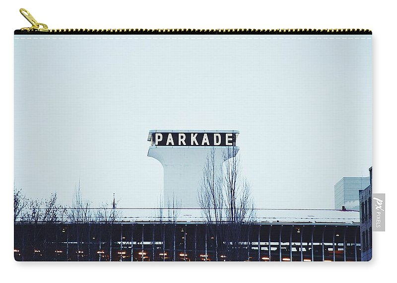 Neon Carry-all Pouch featuring the photograph Parkade - Downtown Spokane by Patrick Herbert