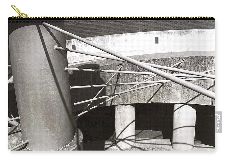 Black And White Photograph Carry-all Pouch featuring the photograph Parking Garage by Thomas Valentine