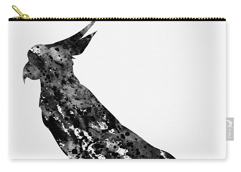Parrot Carry-all Pouch featuring the digital art Parrot-black by Erzebet S