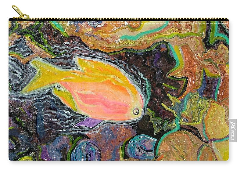 Neon Carry-all Pouch featuring the painting Parrot Fish Are Transgendered by Heather Lennox
