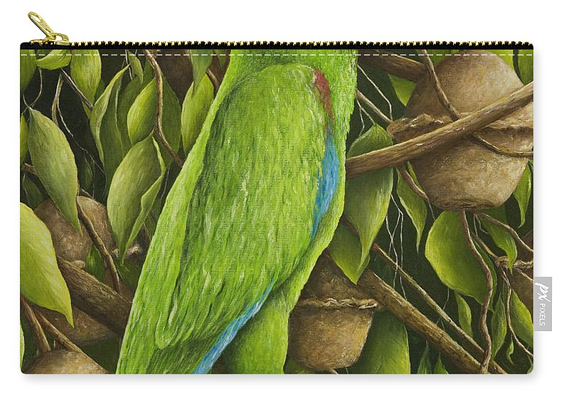 Parrot Painting Carry-all Pouch featuring the painting Parrot In Brazil Nut Tree by Mary Ann King