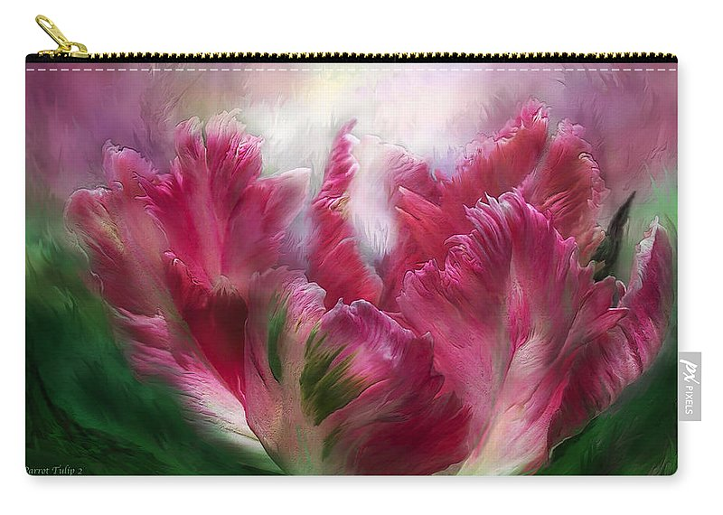 Carol Cavalaris Carry-all Pouch featuring the mixed media Parrot Tulip 2 by Carol Cavalaris