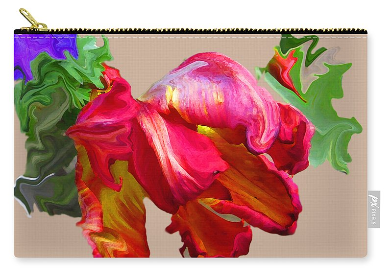 Abstract Carry-all Pouch featuring the photograph Parrot Tulip by Kathy Moll