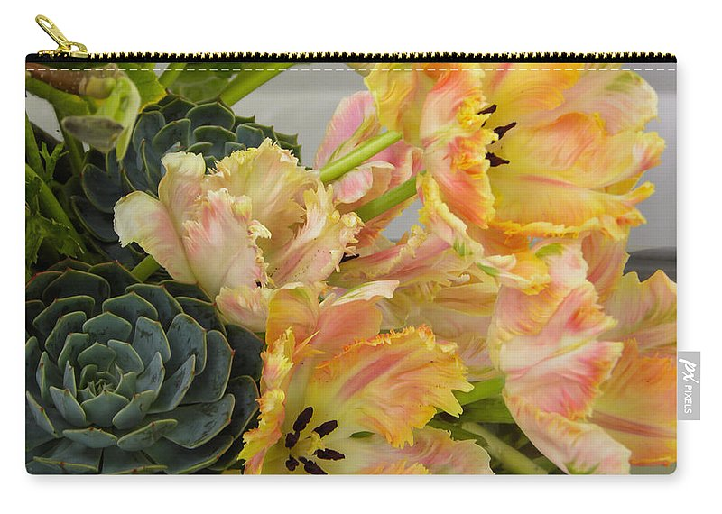 Succulents Carry-all Pouch featuring the photograph Parrot Tulips And Desert Succulents by Stephen Settles