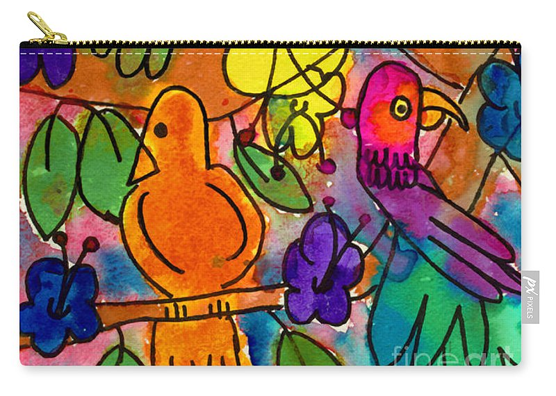 Birds Carry-all Pouch featuring the painting Parrots by Nick Abrams Age Nine