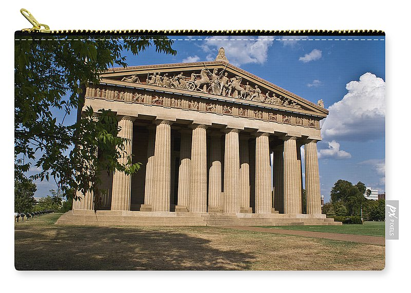 Parthenon Carry-all Pouch featuring the photograph Parthenon Nashville Tennessee From The Shade by Douglas Barnett