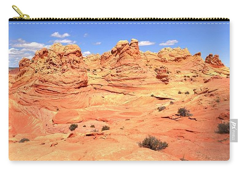 Vermilion Cliffs Panorama Carry-all Pouch featuring the photograph Partly Cloudy Over Coyote South by Adam Jewell