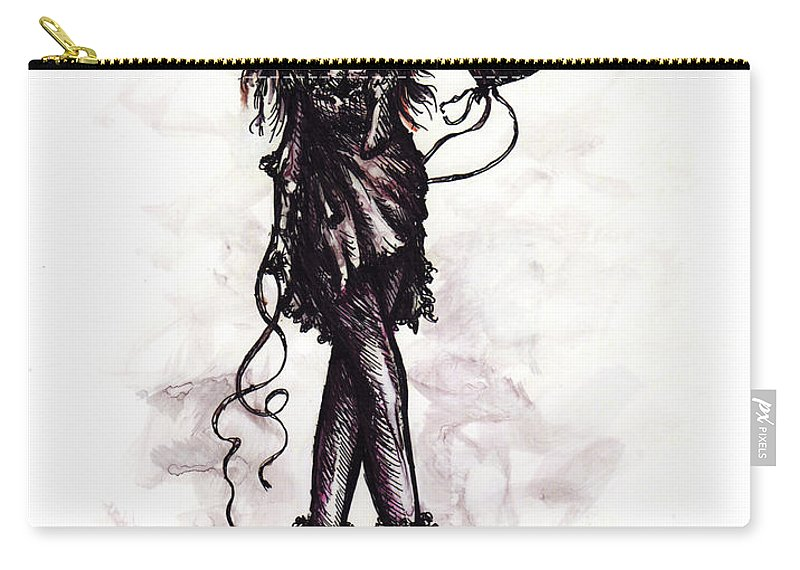 Drawing Carry-all Pouch featuring the drawing Party Girl by Rachel Christine Nowicki