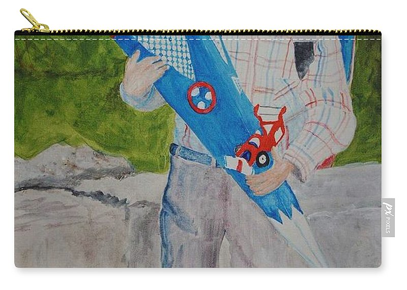 School Carry-all Pouch featuring the painting Pascals First Day At School 2004 by Helmut Rottler
