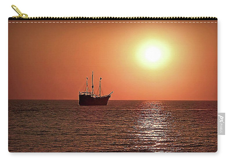 Beach Carry-all Pouch featuring the photograph Passing By In Calm Waters by Joan Minchak