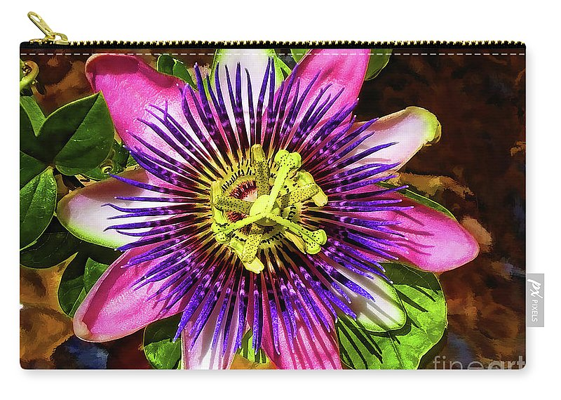 Unusual Lavender Flower Carry-all Pouch featuring the photograph Passion Flower by Mariola Bitner