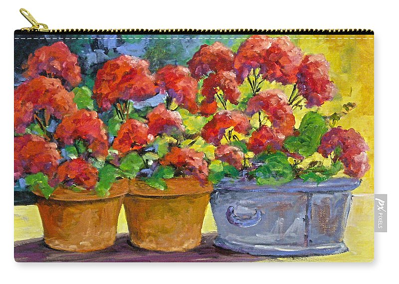 Still Life; Geraniums; Flowers; Terra Cotta; Red; Blue; Yellow; Green; Pranke; Carry-all Pouch featuring the painting Passion In Red by Richard T Pranke