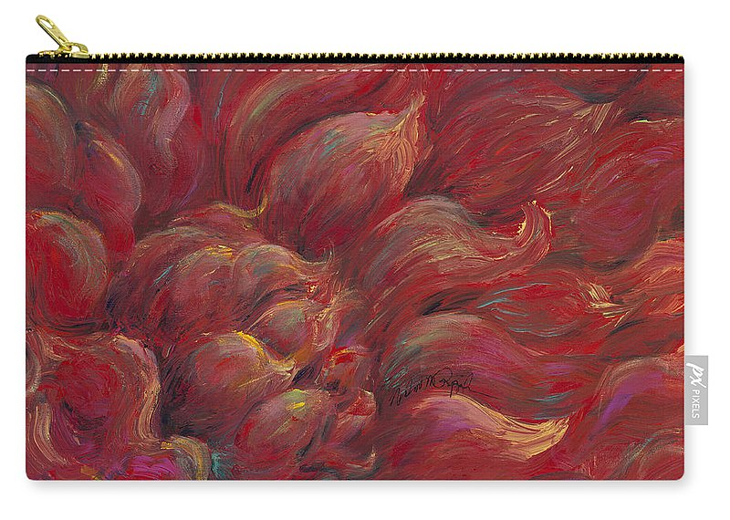 Red Carry-all Pouch featuring the painting Passion V by Nadine Rippelmeyer