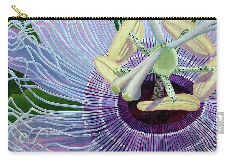 Passionflower Vine Carry-all Pouch featuring the painting Passionflower Vine by Linda Wolff