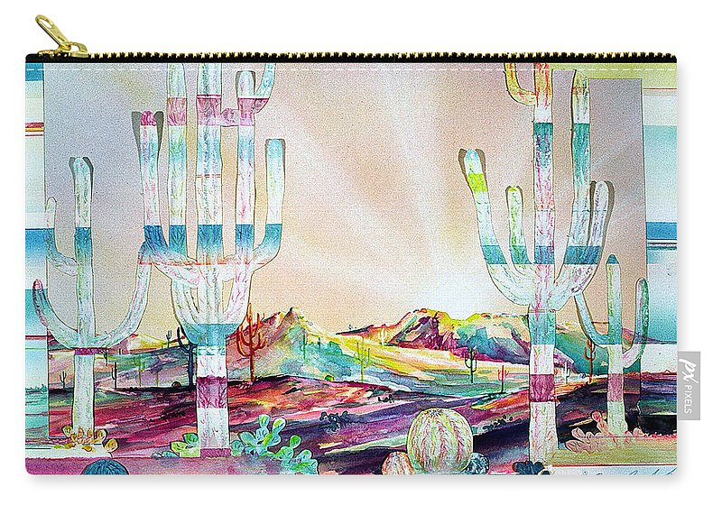 Cactus Carry-all Pouch featuring the painting Pastel Desert Landscape by Connie Williams
