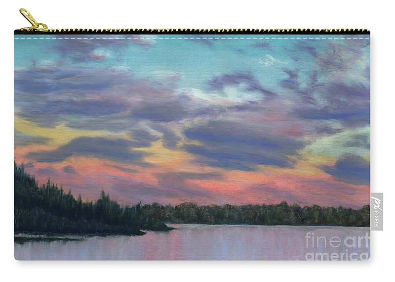 Landscape Carry-all Pouch featuring the painting Pastel Sunset by Lynn Quinn