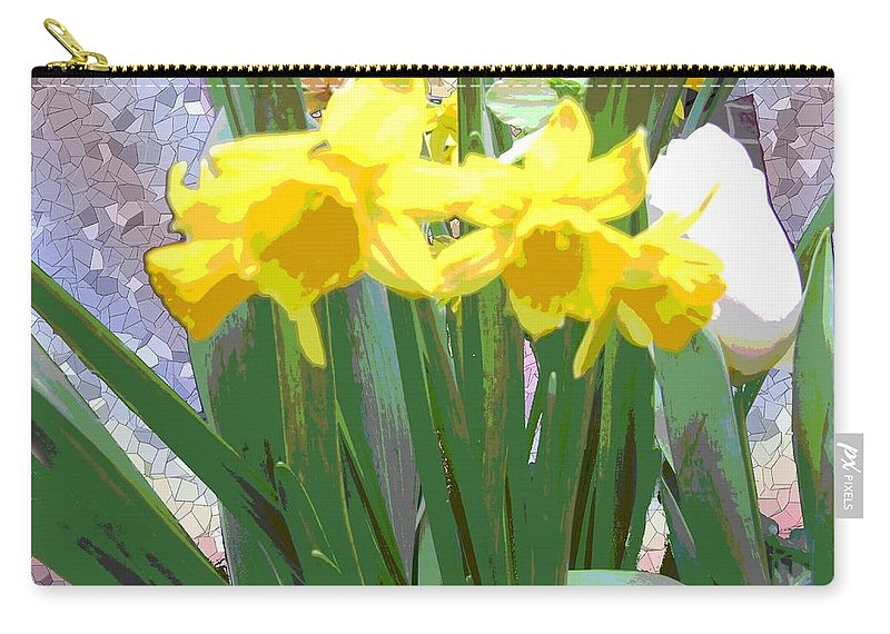 Tulips Carry-all Pouch featuring the digital art Pastel Tulips by Tim Allen