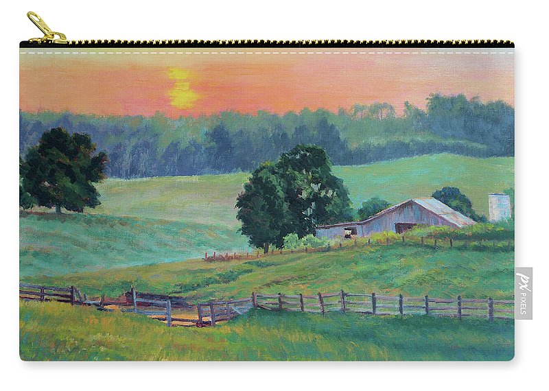 Impressionism Carry-all Pouch featuring the painting Pastoral Sunset by Keith Burgess