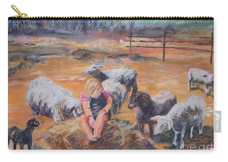 Farmstead Carry-all Pouch featuring the pastel Pasture Acquaintances by Alicia Drakiotes