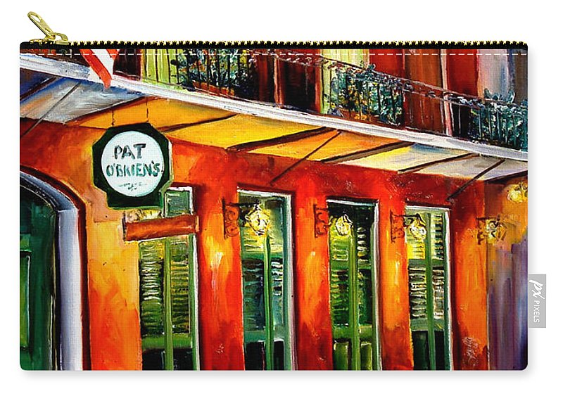 New Orleans Paintings Carry-all Pouch featuring the painting Pat O Briens Bar by Diane Millsap